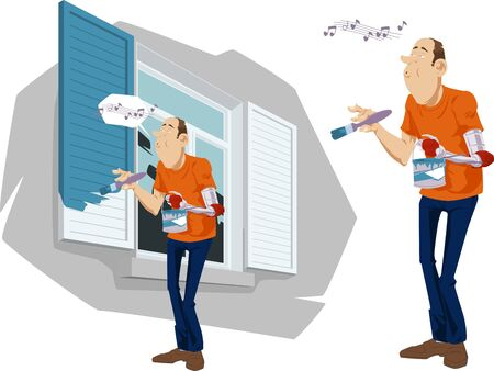 Man with bionic arm Painting Shutters of Home. Stock Illustration.
