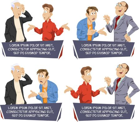 Funny people. Two men are talking. Colleagues argue. Set cartoon businessman's.  Illustration