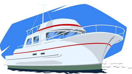 Large motor yacht under way at sea. Stock Illustration.