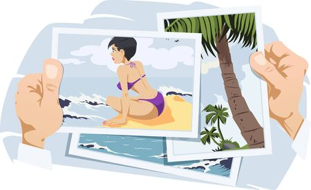 Photos from vacation. Girl in swimsuit on recreation. Funny people. Stock illustration. Ilustração