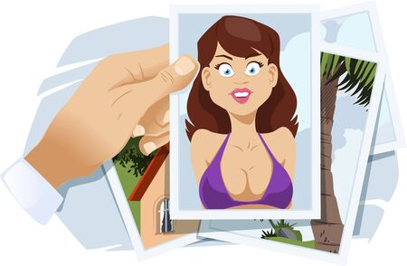 Photos from vacation. Girl in swimsuit on recreation. Funny people. Stock illustration.