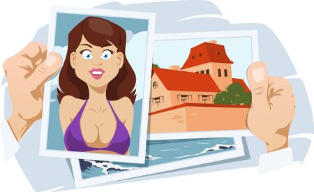Photos from vacation. Girl in swimsuit on recreation. Funny people. Stock illustration.  イラスト・ベクター素材