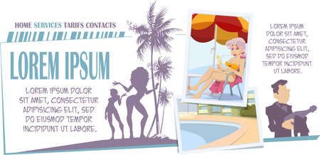 Photos from vacation. Girl in swimsuit on recreation. Funny people. Stock illustration. Illustration