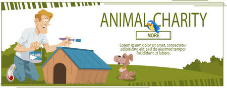 Man paints kennel in animal shelter. Web page template for family vacation. Concept for website. Illustration
