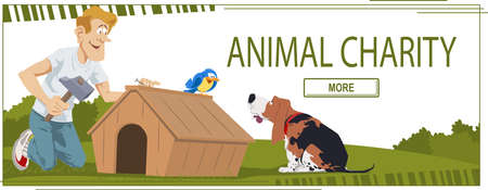 Man building dogs kennel in animal shelter. Web page template for family vacation. Concept for website.