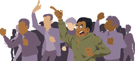 Protesting people. Riots in street. Stock illustration. Ilustrace