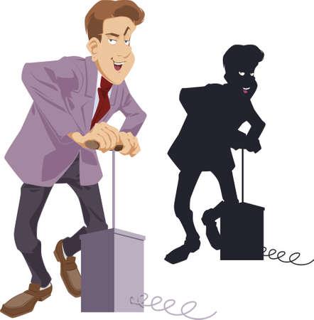 Funny Businessman with detonator. Stock illustration. Ilustrace
