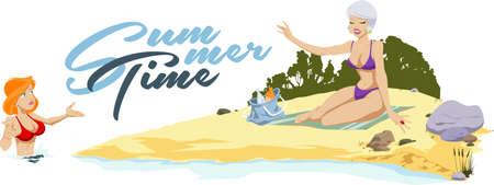 Girlfriends on beach. Funny people. Stock illustration.