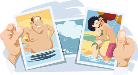 Loving couple on beach. Photos from vacation. Funny people. Stock illustration.
