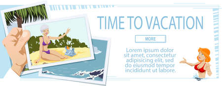 Girlfriends on beach. Web page template for family vacation. Concept for website. Funny people. Stock illustration. Stock Illustratie