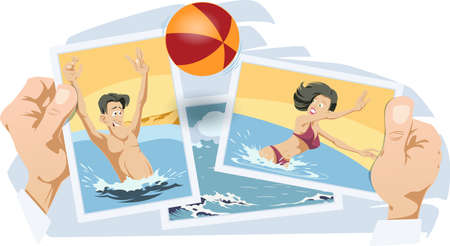 Girl and guy with ball in water. Funny people. Stock illustration. Stock Illustratie