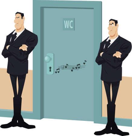 Security guards protect toilet door. Funny people.