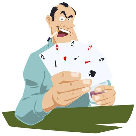 Gambling. Man with cards. Funny people. Stock illustration. Vektorové ilustrace