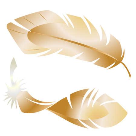 Stock illustration. Golden bird feathers.