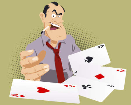 Gambling. Man with cards. Funny people. Stock illustration.