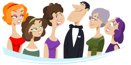Delighted girls next to idol. Funny people. Stock illustration.