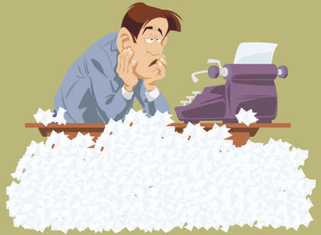 Lack of inspiration. Writer in creative crisis. Pensive businessman in office. Man sitting over crumpled papers. Funny people. Stock illustration.