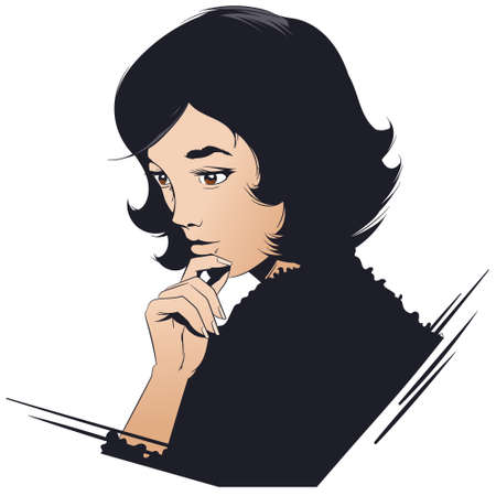 Stock illustration. Portrait of attractive pensive girl.