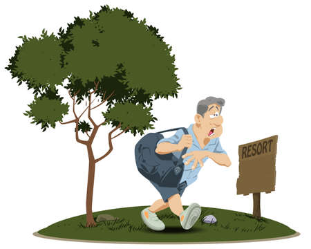 Tired man with heavy bag. Funny people. Vector Illustration
