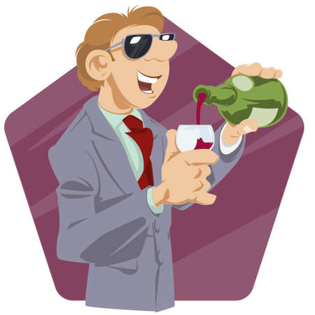 Man is drinking wine. Guy with bottle alcohol. Bad habit. Funny people.