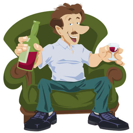Man is drinking wine. Guy with bottle alcohol. Bad habit. Funny people. Vector Illustration