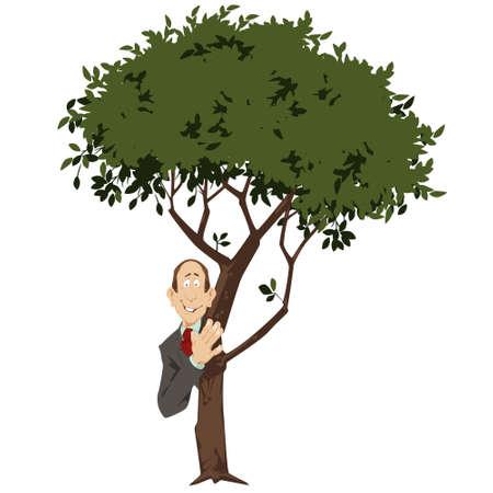 Man Hiding Behind Green Tree. Funny people. Stock illustration.