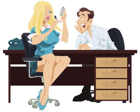 Beautiful female does makeup. Woman applies mascara on eyelashes. Make up in process. Man admiring girl. Funny people. Stock illustration.