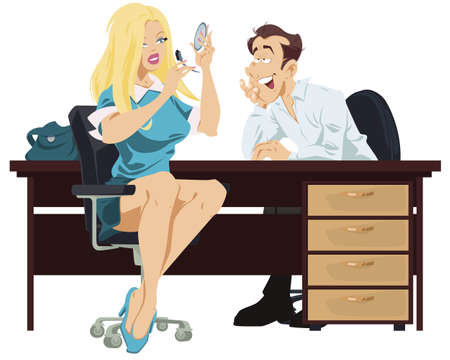 Beautiful female does makeup. Woman applies mascara on eyelashes. Make up in process. Man admiring girl. Funny people. Stock illustration.