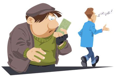 Surprised beggar with bill in his hands. Businessman helped poor male. Funny people. Stock illustration. Vektorgrafik