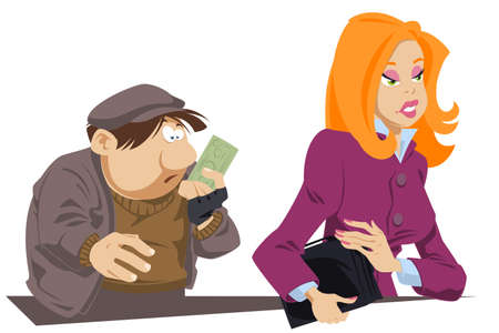 Surprised beggar with bill in his hands. Girl helped poor man. Funny people. Stock illustration.