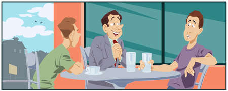 Friends chatting in cafe. Illustration for internet and mobile website.