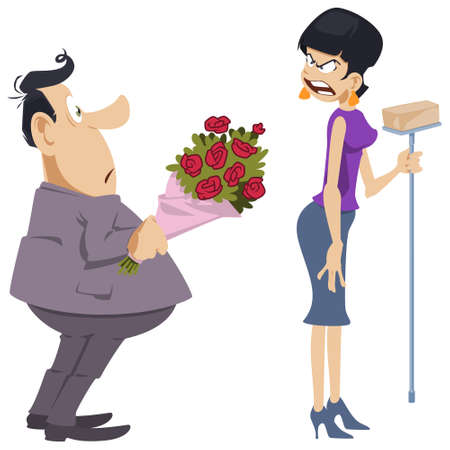 Angry woman is shouting at man with bouquet. Funny people. Stock illustration. Illusztráció