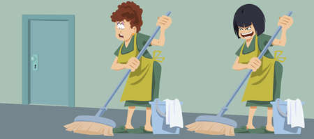 Housekeeper with bucket and mop. Woman in uniform. Cleaning services. Funny people. Stock illustration.