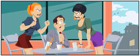 Friends quarrel in cafe. Illustration for internet and mobile website.