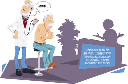 Funny people. Doctor and senior patient.