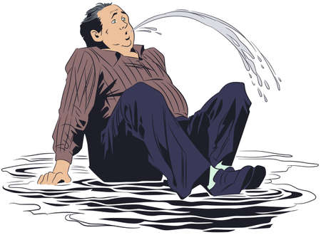 Vector. Stock illustration. Man sat down in puddle.