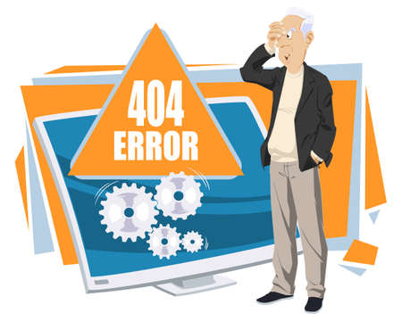 404 error abstract concept. Funny people. Stock illustration. 矢量图像