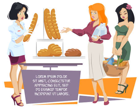 Beautiful saleswoman in bread store. Trade in bakery. Illustration concept for website and mobile website development.