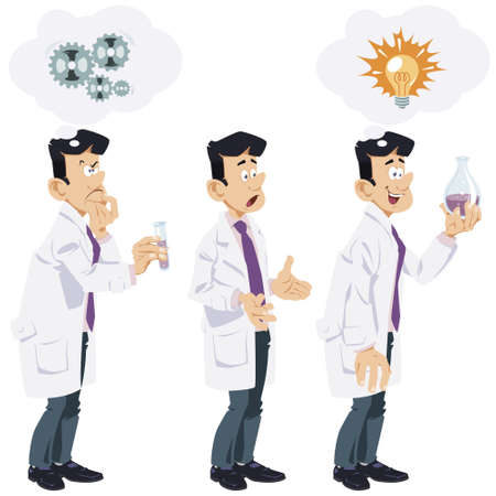Funny cartoon scientist. Illustration for internet and mobile website.