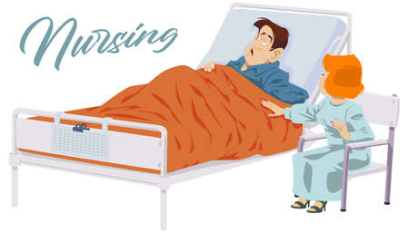 Woman caretaker next to sick man. Female nurse beside male lying in bed. Illustration for internet and mobile website.
