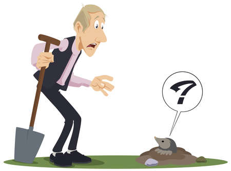 Gardener with shovel. Man is meeting mole. Illustration for internet and mobile website. Funny people. Stock illustration.