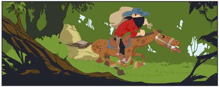 Robber with prey gallops in dense forest. Illustration for internet and mobile website. Funny people. Stock illustration. Vetores