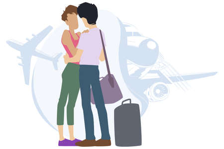 Couple says goodbye before parting. Sweethearts in airport. Illustration for internet and mobile website.