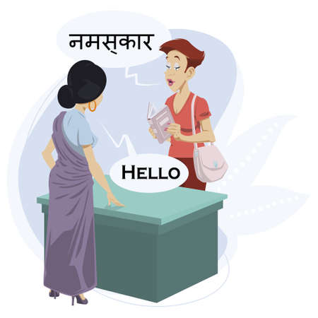 Girls greet each other in different languages. Illustration for internet and mobile website.