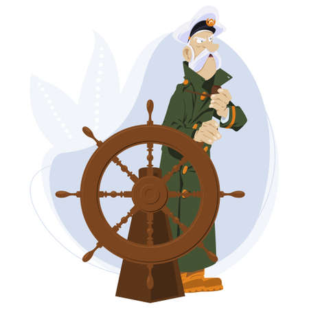 Sea wolf with pipe. Old captain of ship at wheel. Illustration for internet and mobile website. Funny people. Stock illustration. Illusztráció