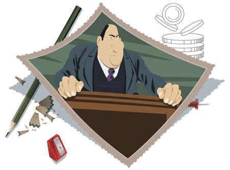Respectable businessman or politician stands behind podium. Illustration concept for website and mobile website development. 矢量图片