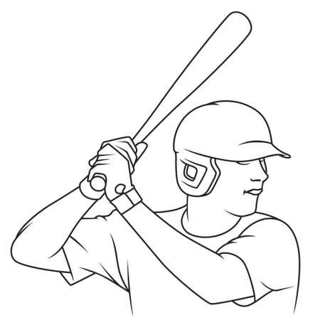 Baseball player swings bat. Illustration concept for mobile website and internet development.