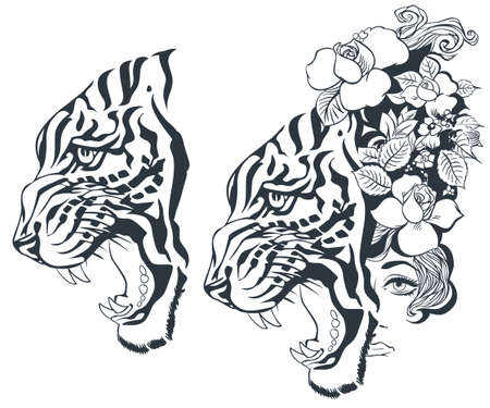 Sketch of tiger and girl tattoo. Illustration concept for mobile website and internet development. Stock Illustratie