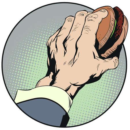 Vector. Stock illustration. Hand holding Cheeseburger.