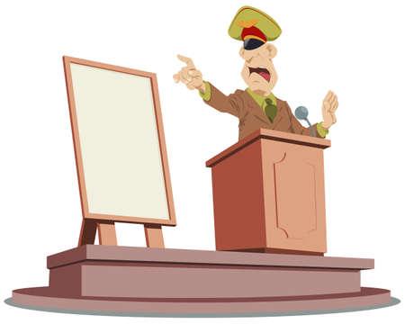 Angry general speaks on podium. Illustration concept for mobile website and internet development. Ilustración de vector